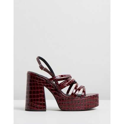 Stratton Heels Burgundy Croc by Dazie