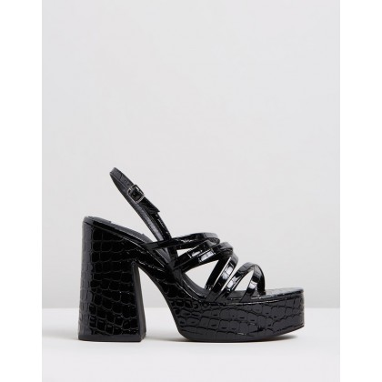 Stratton Heels Black Croc by Dazie