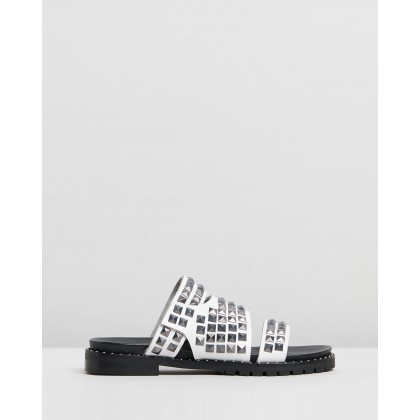 Studded Vivienne Slides Off White by Oneteaspoon