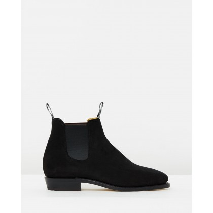 Suede Adelaide Boots Black Suede by R.M.Williams