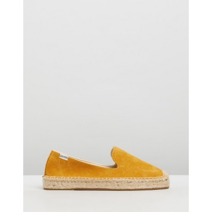 Suede Platform Smoke Slippers Marigold by Soludos