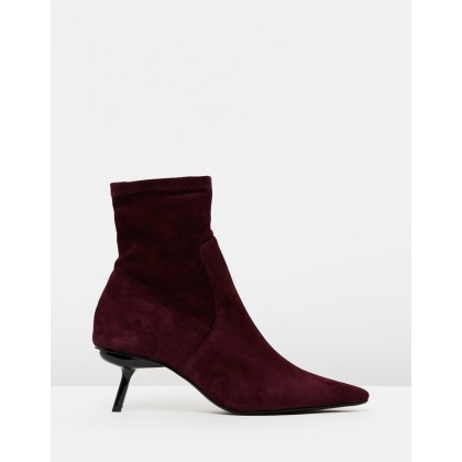 Suede Sock Ankle Boots Maroon by M.N.G