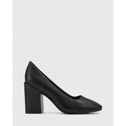 Sutton Leather Block Heel Pumps Black by Wittner