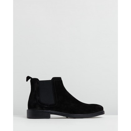 Sywell Suede Gusset Boots Black Oily by Double Oak Mills