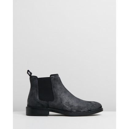 Sywell Suede Gusset Boots Grey Oily by Double Oak Mills