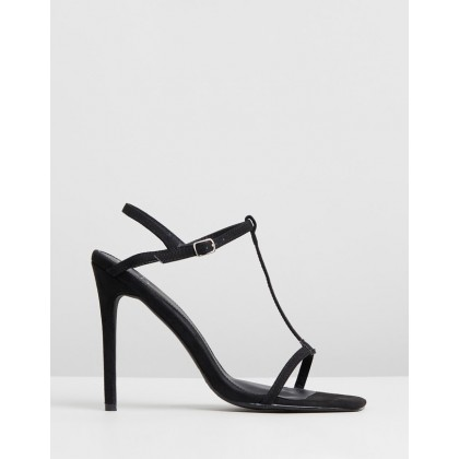 T-Bar Barely There Stilettos Black by Missguided