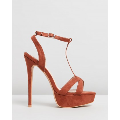 T-Bar Cross-Over Stiletto Platform Heels Tan by Missguided