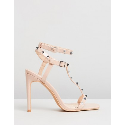 T-Bar Pyramid Stud Heels Nude by Missguided
