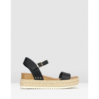Tahlia Rope Flatform Sandals Black by Betts
