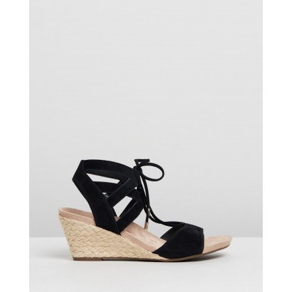 Tansy Wedge Espadrille Sandals Black by Vionic