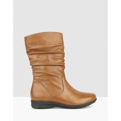 Tara Ruched Leather Calf Boots Tan by Airflex