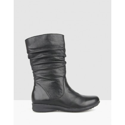 Tara Ruched Leather Calf Boots Black by Airflex