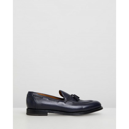 Tassel Loafers Midnight Blue Deer Leather by Barrett