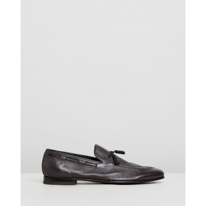 Tassel Loafers Chocolate Deer Leather by Barrett