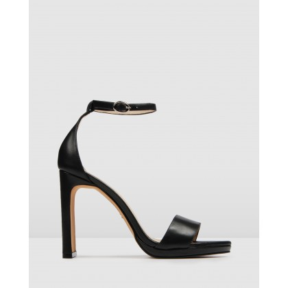 Taurus High Heel Sandals Black Leather by Jo Mercer