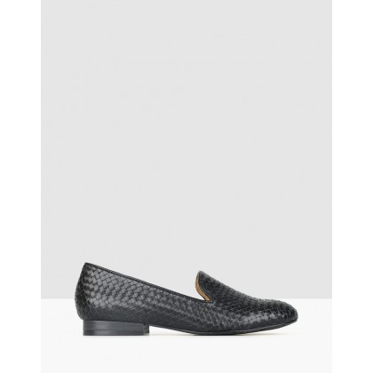 Taylor Woven Leather Loafers Black by Airflex