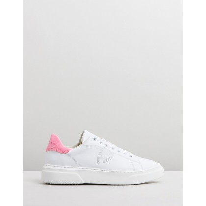 Temple Femme Sneakers White & Neon Pink by Philippe Model