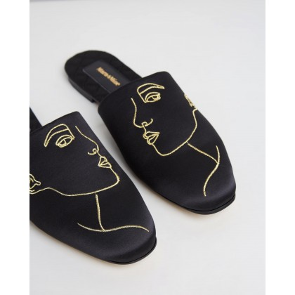 The Line Slippers Black & Gold by Mara & Mine