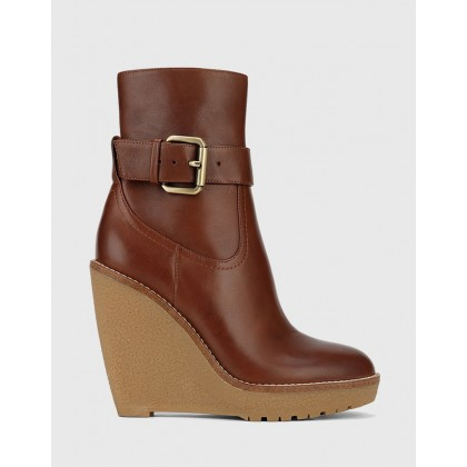 Theodore Wedge Ankle Boots Brown by Wittner