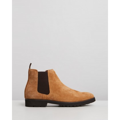 Thompson Suede Gusset Boots Tan by Double Oak Mills