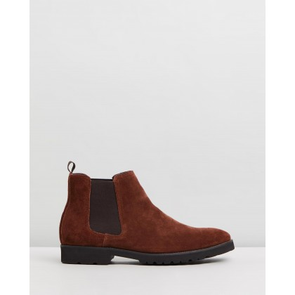 Thompson Suede Gusset Boots Brown by Double Oak Mills
