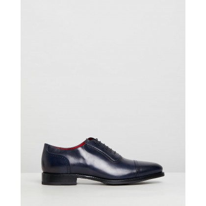 Toe Cap Oxford Navy Leather by Barrett