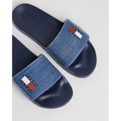 Tommy Jeans Denim Pool Slides - Men's Denim by Tommy Jeans