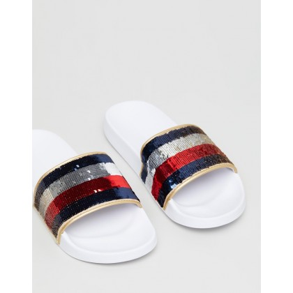 Tommy Sequins Pool Slides White by Tommy Hilfiger