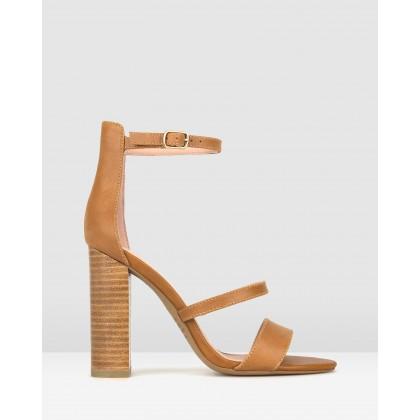 Tower Block Heel Sandals Tan by Zu