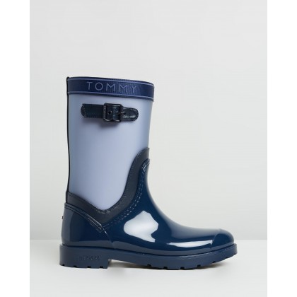 Translucent Detail Rain Boots Tommy Navy by Tommy Hilfiger
