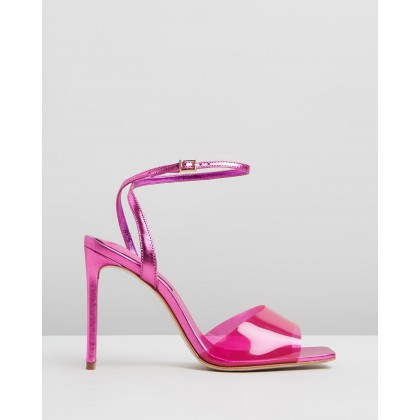 Transparent Strap Stiletto Heels Pink by Schutz