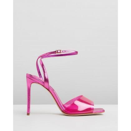 Transparent Strap Stiletto Heels Pink by Schutz