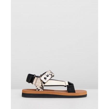 Tri-Colour Sandals Veg Calf, Ecru & Python by Joseph
