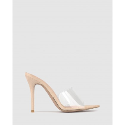 Trinity Point Toe Stiletto Mules Nude Clear by Zu