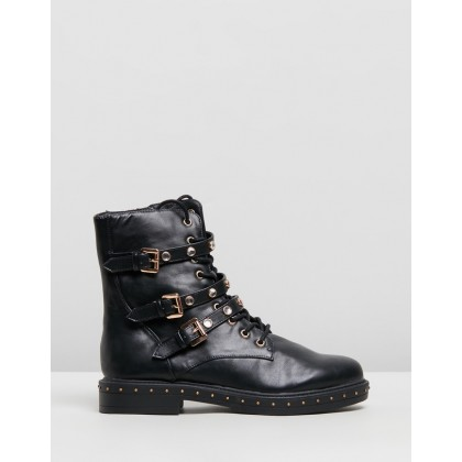 Triple Strap Embellish Hiker Boots Black by Missguided