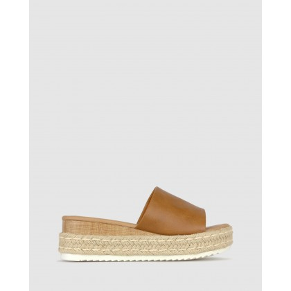 Trix Slip On Flatform Sandals Tan by Betts