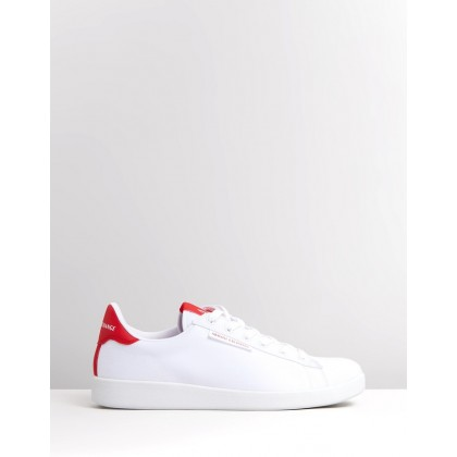 Twill Lace-Up Sneakers Optic White & Red by Armani Exchange
