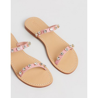 Two-Strap Jewel Slides Pink by Mystique
