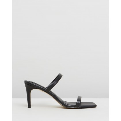 Two Strap Leather Heels Black by Jaggar The Label