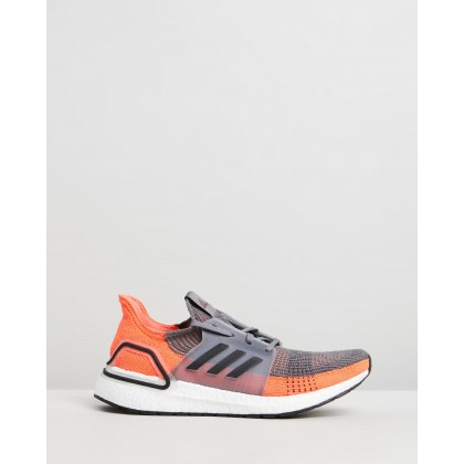 UltraBOOST 19 - Men's Grey Four, Core Black & Hi-Res Coral by Adidas Performance