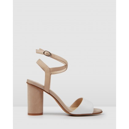 Umberto High Heel Sandals Natural White by Jo Mercer