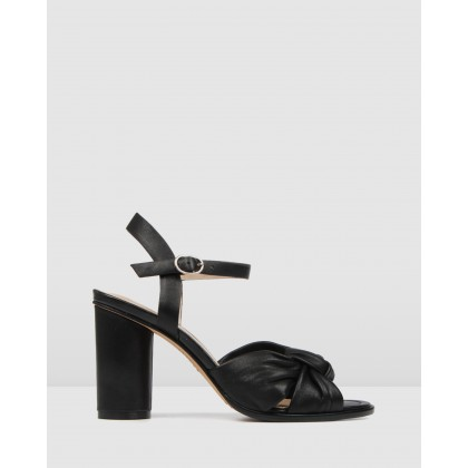 Unais High Heel Sandals Black Leather by Jo Mercer
