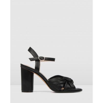 Unais High Heel Sandals Black Leather by Jo Mercer