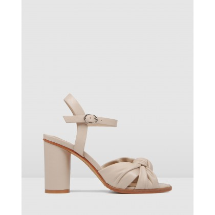 Unais High Heel Sandals Beige Leather by Jo Mercer