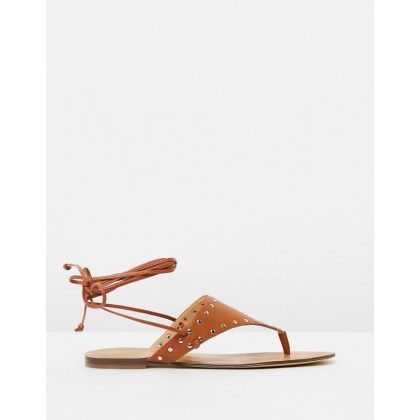 Vachetta Ankle Wrap Thongs Burnished Pecan by J.Crew