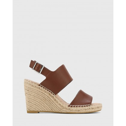 Vale Leather Open Toe Espadrille Wedges Brown by Wittner