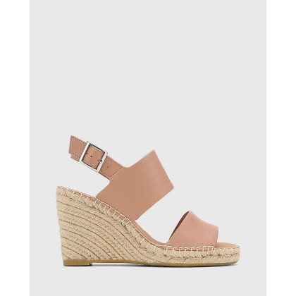 Vale Leather Open Toe Espadrille Wedges Pink by Wittner