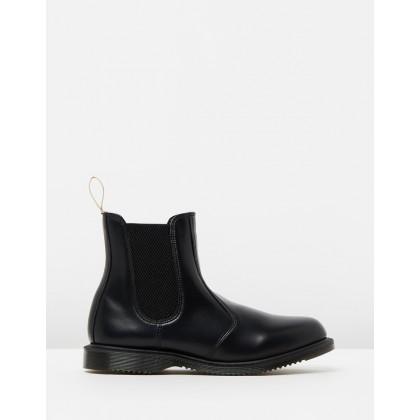 Vegan Flora Kensington Boots - Women's Black Polished Smooth by Dr Martens