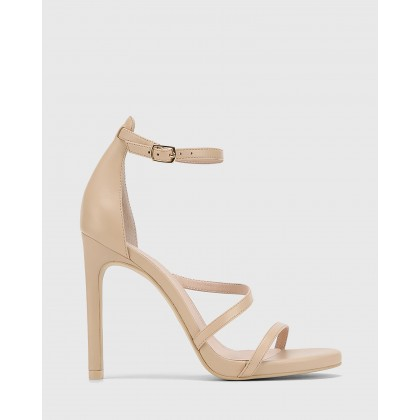 Veronika Leather Open Toe Stiletto Heels Nude by Wittner