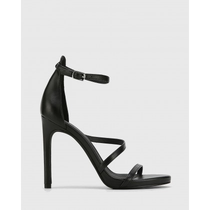 Veronika Leather Open Toe Stiletto Heels Black by Wittner